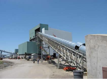 steep incline conveyor for gypsum