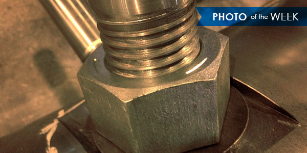 This week's photo shows the base of a pin, the fundamental component of a pin mixer. Pin mixers are industrial mixing devices that use rotational forces to blend, agglomerate, and condition fine materials.