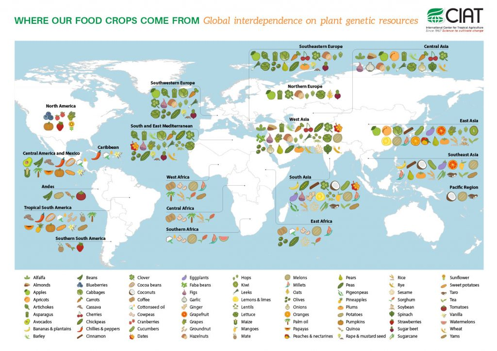 """<a href=""""http://www.ciatnews.cgiar.org/wp-content/uploads/2015/09/Where-Our-Food-Crops-Come-From1.jpeg"""" target=""""_blank"""">Photo credit: CIAT International Center for Tropical Agriculture</a>"""