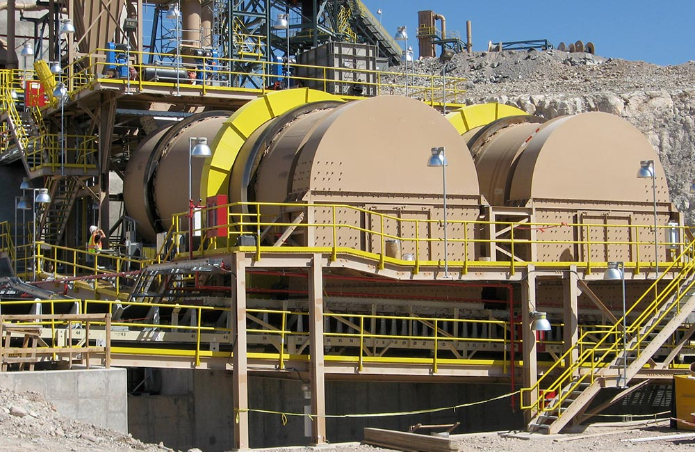 Installed Copper Ore Drums (Agglomerators) for Use in Heap Leaching
