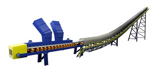 Image: The image above shows a belt conveyor that would be typical at a coal, coke, or pet coke handling facility; the conveyor is equipped with weather covers, an integrated skirtboard, and exhaust ports to manage dust near the inlet chutes. A walkway for service and observation is also present.