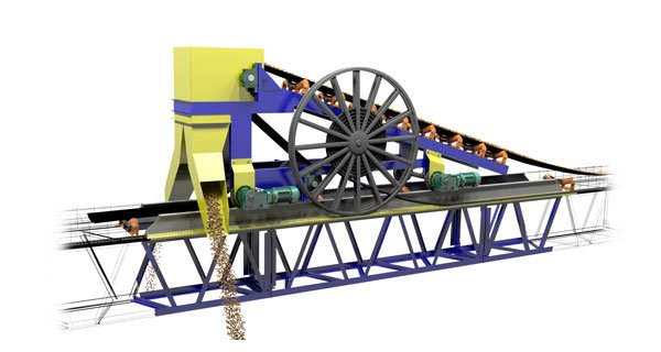 Image: A belt tripper with diverter chutes travels on a rail system to continuously discharge material on both sides of the conveyor belt for the length of the conveyor. This setup would be ideal for a coal, coke, or pet coke storage facility to create piles on both sides of the conveyor for the length of the facility.