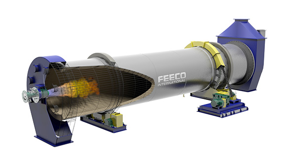 3D Model of a FEECO Rotary Kiln for Sintering Fly Ash