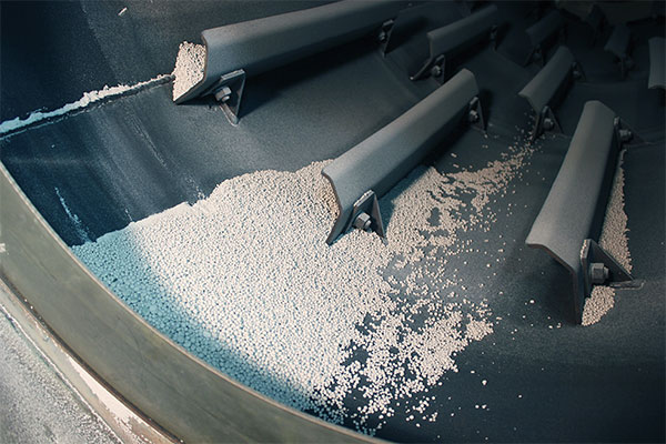 Potash Pellets in a Rotary Dryer