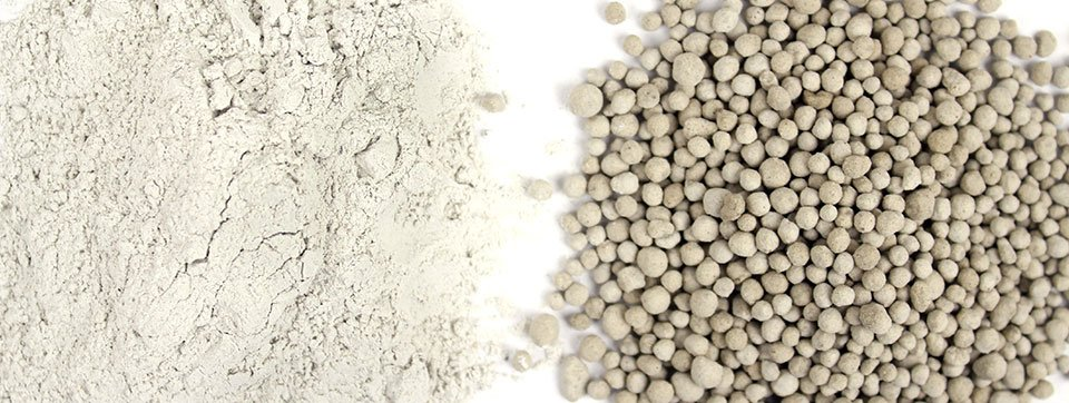 Limestone before and after pelletizing (pelletising)